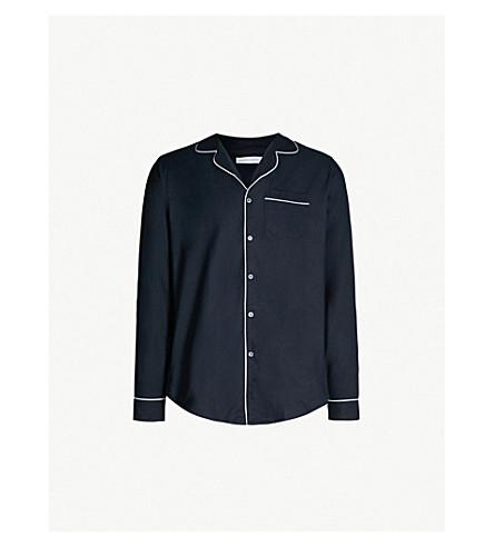 DESMOND AND DEMPSEY Byron cotton pyjama shirt (Navy