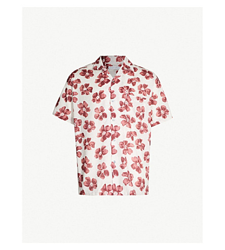 DESMOND AND DEMPSEY Victor floral-print cotton pyjama shirt (Red