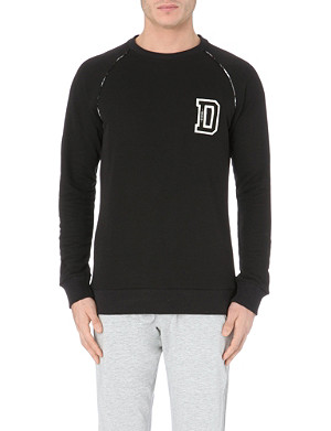 DIESEL Checked seam logo jersey sweatshirt