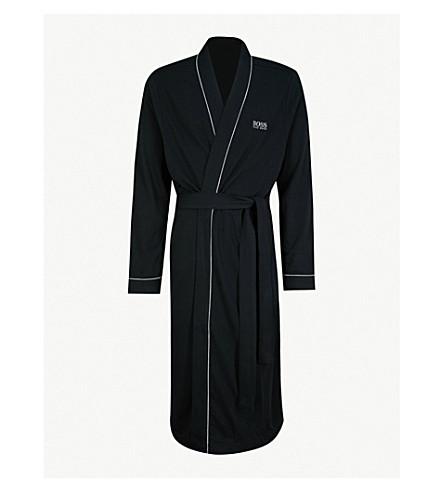 BOSS 和服式棉质睡袍 (黑色
