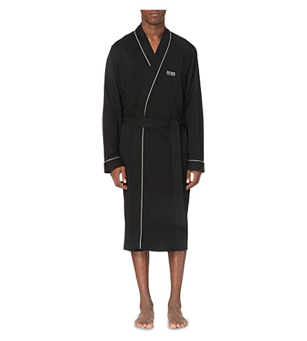 BOSS Kimono cotton dressing gown (Black