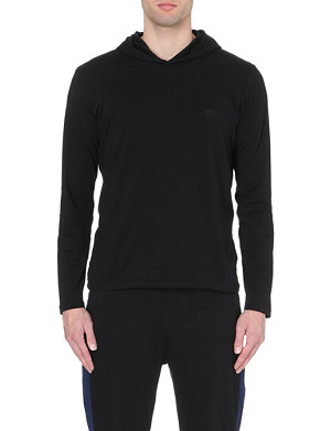 HUGO BOSS Logo-embroidered jersey hoody