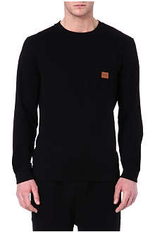 HUGO BOSS Cotton sweatshirt with leather logo patch