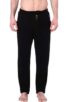 HUGO BOSS Cotton jogging bottoms with leather logo patch