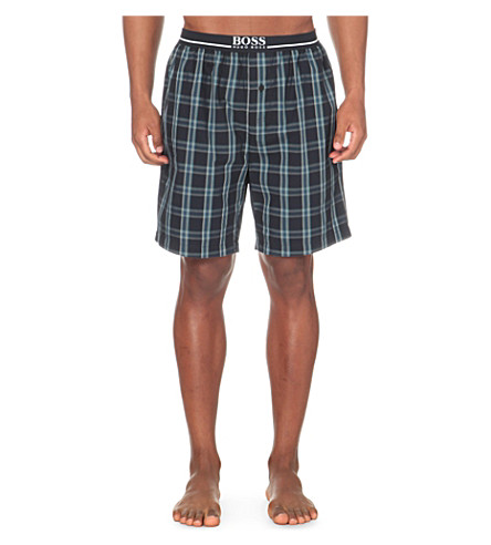 HUGO BOSS Checked woven boxer shorts (Navy