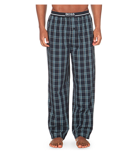 HUGO BOSS Checked cotton pyjama bottoms (Navy