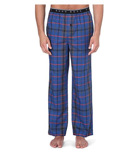 HUGO BOSS Checked cotton pyjama bottoms (Blue/orange