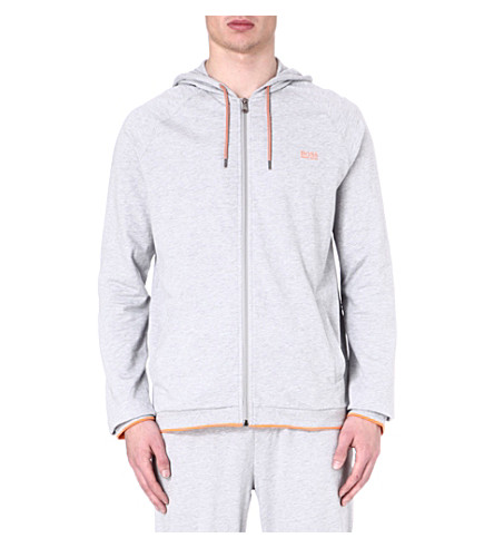 HUGO BOSS Contrast-trim zip-up hoody (Grey
