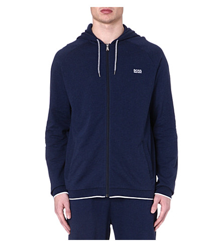 HUGO BOSS Contrast-trim zip-up hoody (Navy