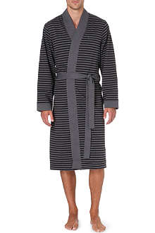 HUGO BOSS Striped brushed-cotton robe