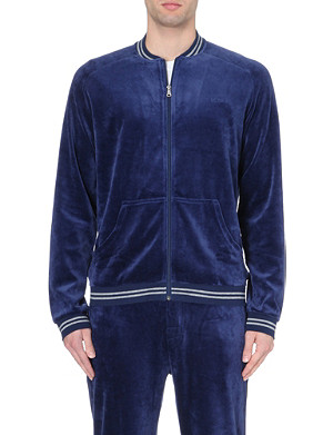HUGO BOSS Striped-trim velour zip jacket