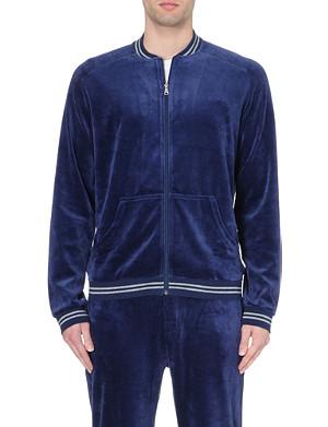 HUGO BOSS Striped-trim velour zip jacket