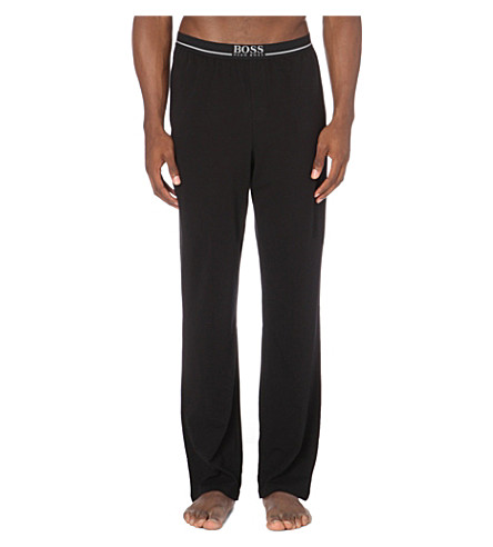BOSS Branded stretch-cotton pyjama trousers (Black