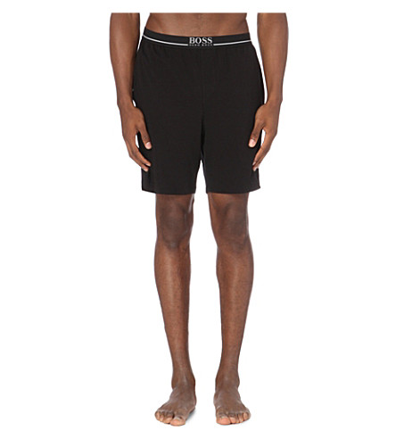 BOSS Branded stretch-cotton pyjama shorts (Black