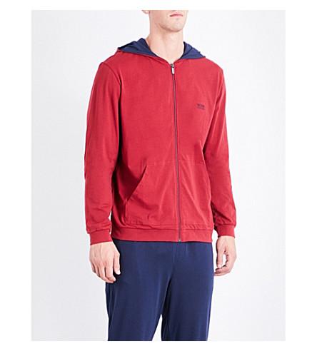 BOSS 标志棉混纺帽衫 (红