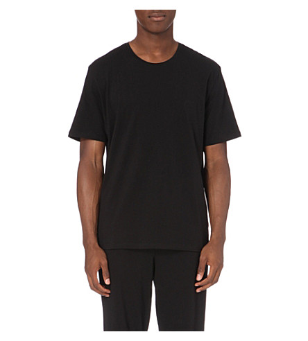 BOSS Branded stretch-cotton t-shirt (Black