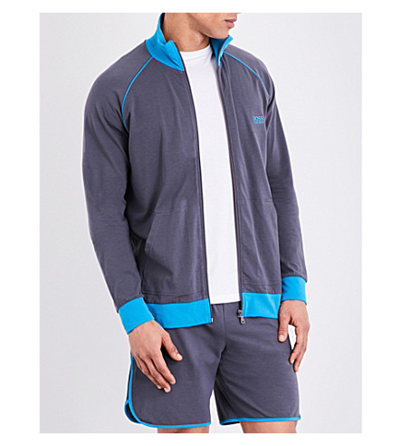 BOSS Logo cotton-blend jacket (Mid+grey+blue