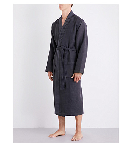 BOSS Waffle-textured cotton-blend robe (Grey