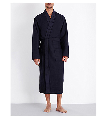 HUGO BOSS Waffle-textured cotton-blend robe (Navy