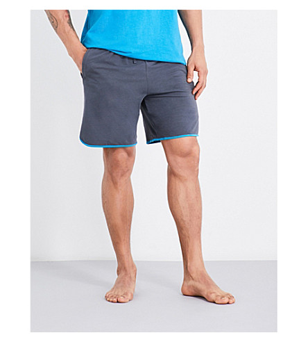 BOSS Contrast trim stretch-jersey shorts (Mid+grey+blue