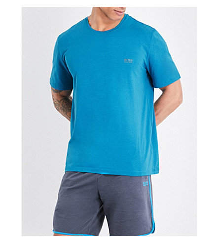 BOSS Crewneck stretch-cotton T-shirt (Brt+blue