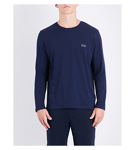 BOSS Crewneck jersey pyjama top (Navy