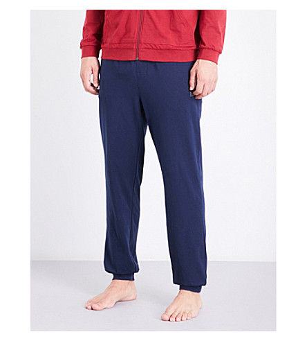 BOSS Logo-embroidered stretch-cotton lounge trousers (Nvy