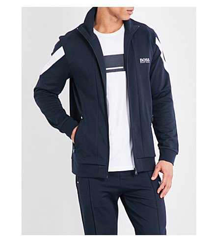 BOSS Stripe detail jersey jacket (Navy