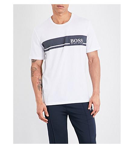 BOSS Urban stribe logo cotton T-shirt (White