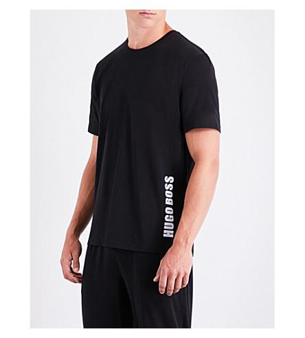 BOSS Logo-print stretch-cotton T-shirt (Blk