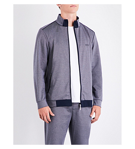 BOSS Tonal jersey jacket (Grey