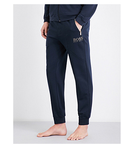 BOSS Logo-print tapered cotton-blend jogging bottoms (Navy+gold