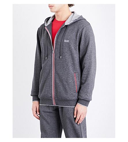 BOSS 对比-装饰棉混纺帽衫 (灰色 + 红色