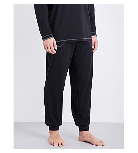 BOSS Contrast cotton-blend jogging bottoms (Black