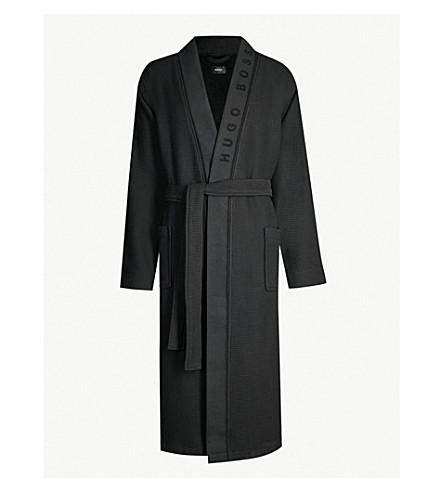 BOSS Waffle-pattern cotton-blend dressing gown (Black