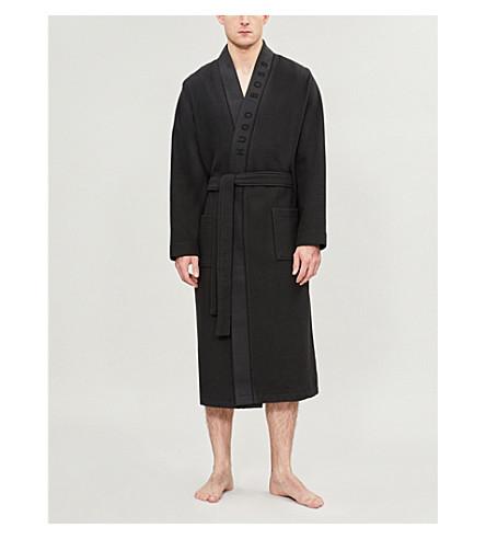HUGO BOSS Waffle-pattern cotton-blend dressing gown (Black