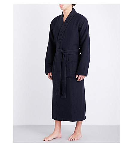 BOSS Waffle-pattern cotton-blend dressing gown (Navy