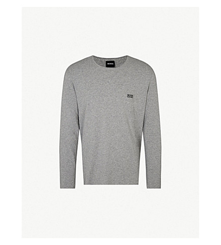 BOSS Logo-embroidered stretch-cotton pyjama top (Grey