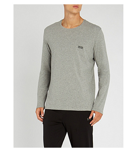 BOSS Logo-embroidered stretch-cotton pyjama top (Grey