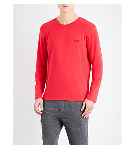 BOSS Logo-embroidered stretch-cotton pyjama top (Red