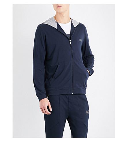 BOSS Mix n match contrast-lining stretch-cotton hoody (Navy