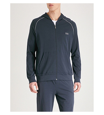 BOSS Zip-up stretch-cotton hoody (Navy