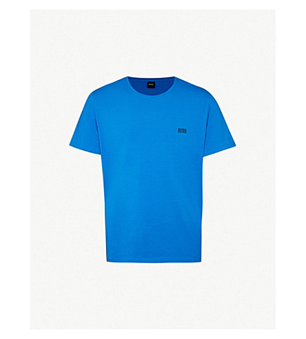 BOSS Logo-embroidered stretch-cotton pyjama top (Blue