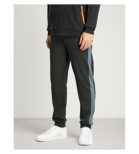 BOSS Relaxed-fit tapered cotton-blend jogging bottoms (Blk+orange