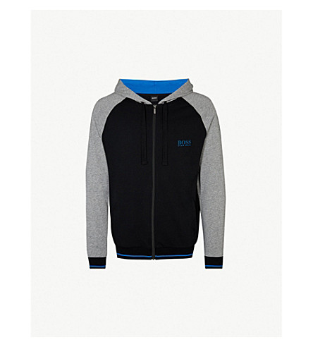 BOSS Contrast sleeves cotton-jersey hoody (Black