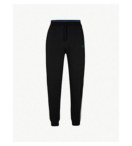 BOSS 对比平纹针织棉慢跑裤 (黑色 + 灰色
