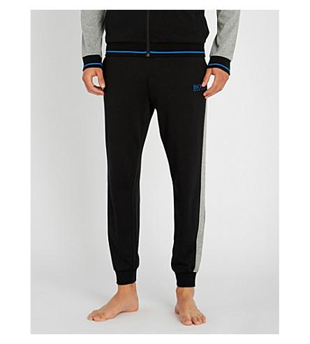 BOSS Contrast cotton-jersey jogging bottoms (Black+grey