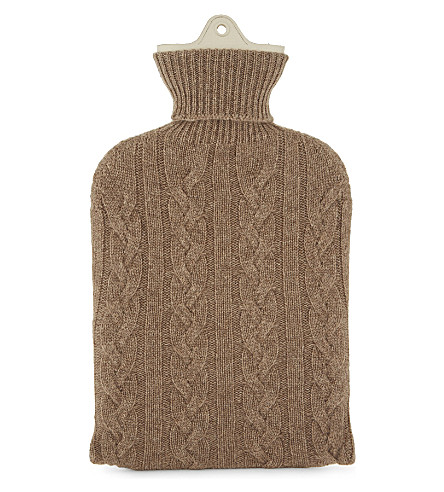 JOHNSTONS Knitted cashmere hot water bottle (Brown