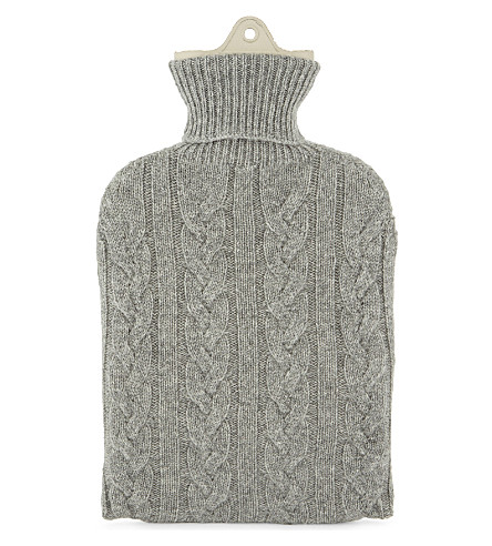 JOHNSTONS Knitted cashmere hot water bottle (Grey