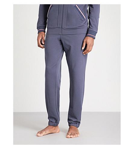 ZIMMERLI Striped-trim stretch-cotton jogging bottoms (Navy